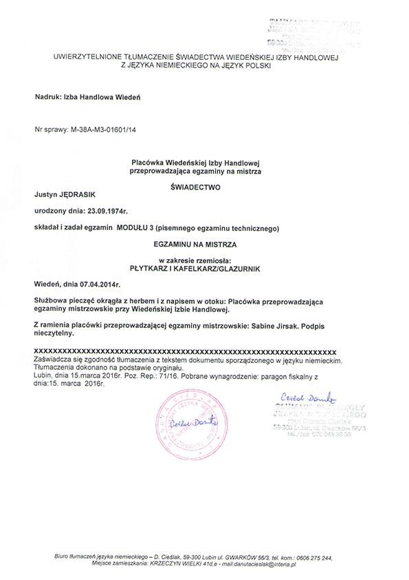 certyfikat - mistrz glazurnik