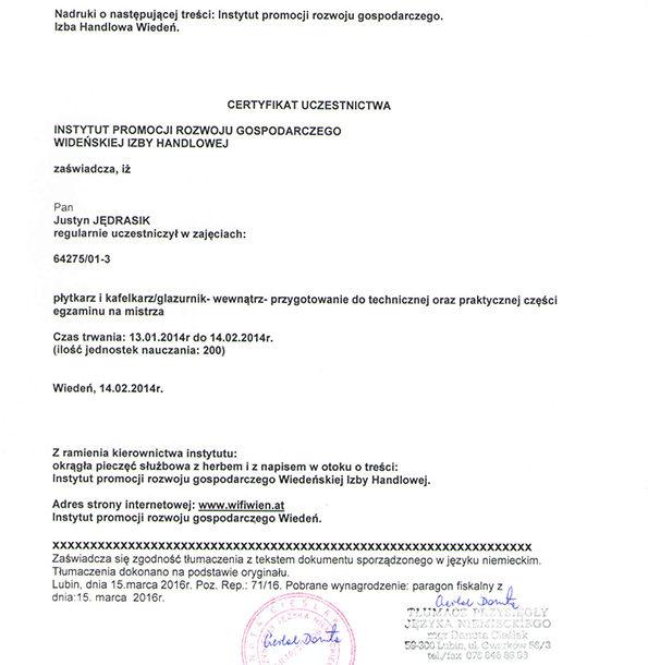 Certyfikat dla glazurnika z wiedeńskiej izby handlowej